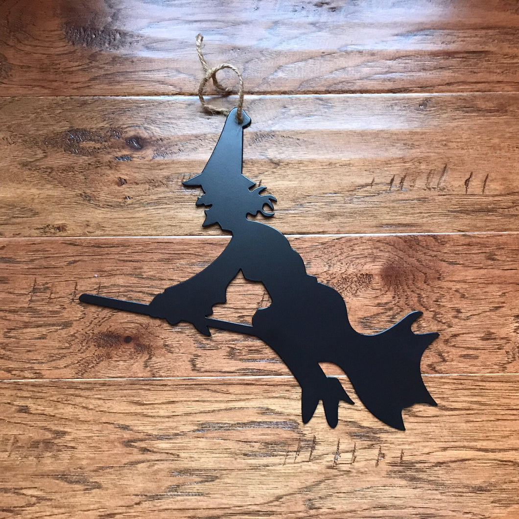 Witch On A Broom Halloween Metal Sign