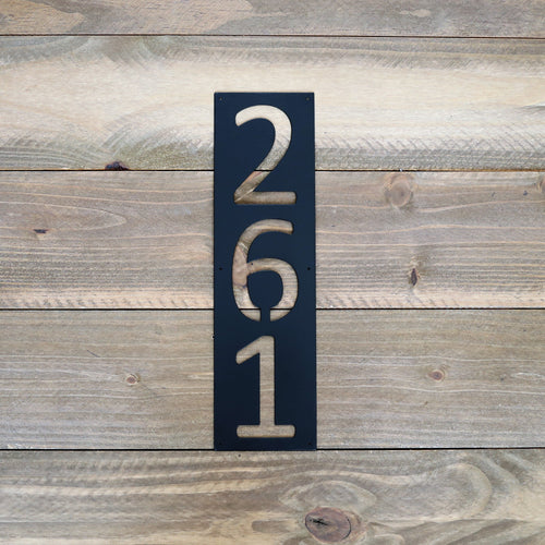 Modern Vertical Rectangle Metal House Numbers