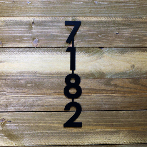 Modern Vertical Metal House Number with 4 Numbers