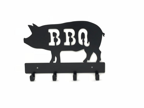 BBQ Pig Key Holder / BBQ Utensil Holder / Metal Grill Utensil Rack / BBQ Pig Wall Decor / Grilling Gift