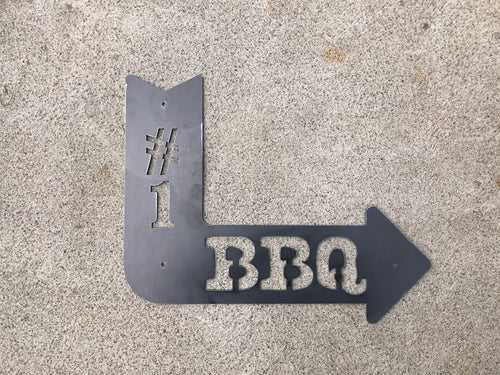 BBQ Arrow Metal Sign