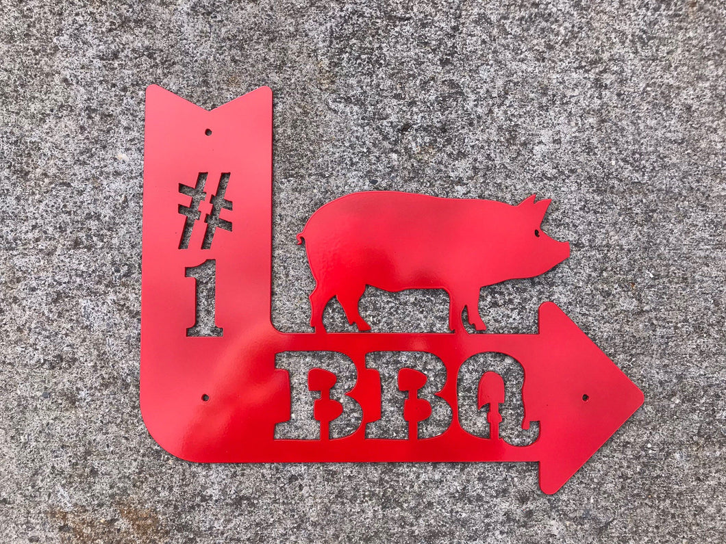 BBQ Arrow with Pig Metal Sign
