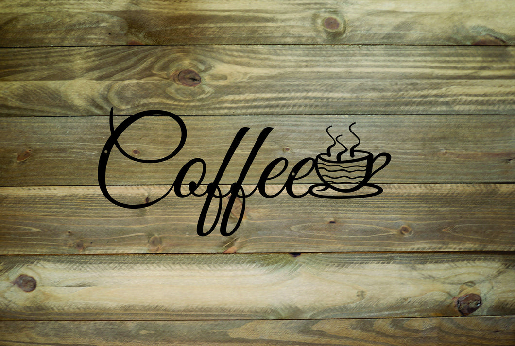 Coffee Cup Metal Wall Sign