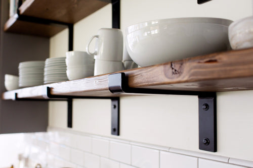Handcrafted Heavy Duty Steel Shelf Bracket With Lip / Modern Open Kitchen Shelving / Powder Coated Shelf Bracket/ 2