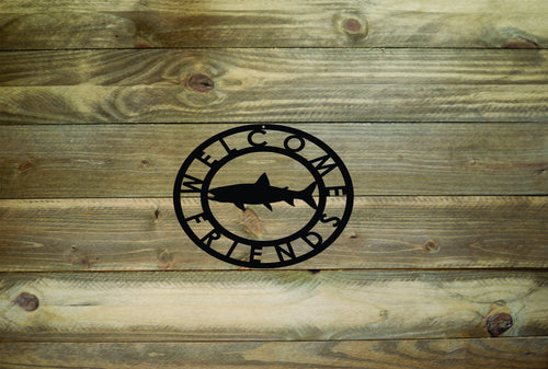 Salmon Welcome Friends Metal Sign