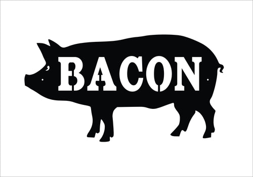 BACON Pig Sign / BBQ Pig Metal Pig Sign / Bacon Wall Decor / Metal Hog Sign / BBQ Pork Sign / Grilling Gift / Bacon Sign