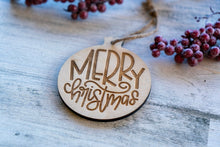 Wood Merry Christmas Ornament  /  Christmas Decoration  / Rustic Christmas Tree Ornament  /  DIY Christmas Ornament
