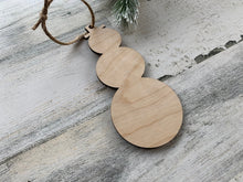 Wood Snowman Christmas Tree Ornament  /  Christmas Snowman Decoration  / Rustic Christmas Tree Ornament  /  DIY Christmas Ornament