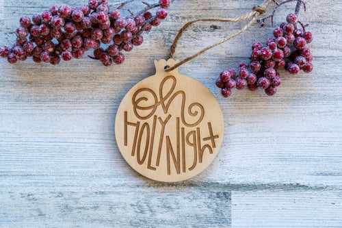 Wood Holy Night Christmas Ornament  /  Christmas Decoration  / Rustic Christmas Tree Ornament  /  DIY Christmas Ornament
