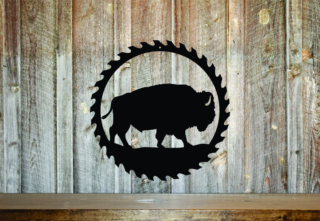 Buffalo Circular Saw Sign / Rustic Home Decor / Outdoorsman Gift / Wood Working Sign / Metal Shop Sign / Garage Saw Sign