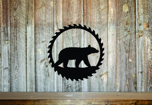 Bear Circular Saw Sign Gift / Rustic Home Decor / Outdoorsman Gift / Wood Working Sign / Metal Shop Sign / Garage Saw Sign