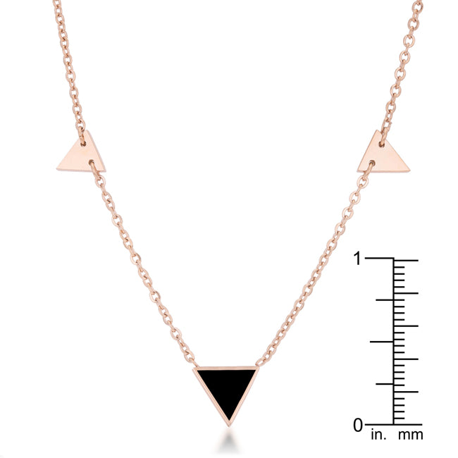 Trin Rose Gold Stainless Steel Delicate Stationary Triangle Necklace