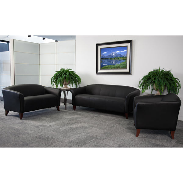 The Imperial Series in black leather will transform your reception area. This set will make an ideal choice in the office and as waiting room seating. The contemporary design of this furniture adapts in several different settings. This set features streamlined stitching and curved elevated hardwood feet. Not only will this set fit in a professional environment, but will add a modern look to your home.