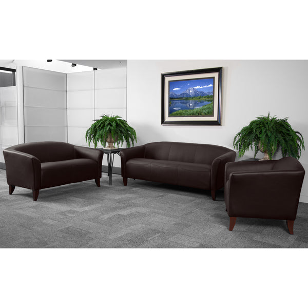 The Imperial Series in brown leather will transform your reception area. This set will make an ideal choice in the office and as waiting room seating. The contemporary design of this furniture adapts in several different settings. This set features streamlined stitching and curved elevated hardwood feet. Not only will this set fit in a professional environment, but will add a modern look to your home.