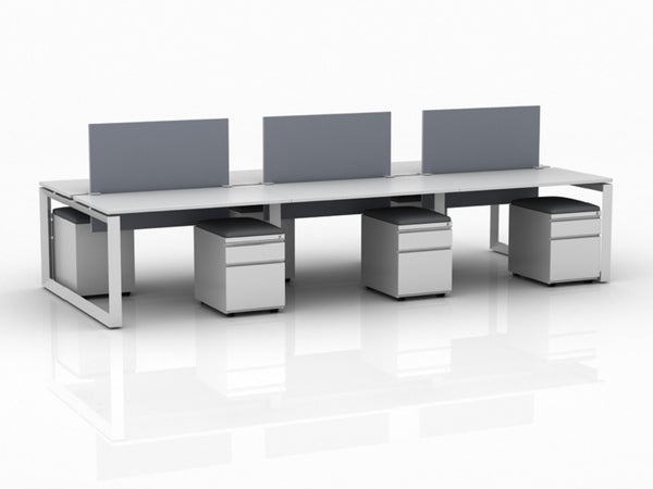 OfficeChairCity.com - Modern 6 Person Open Workstation