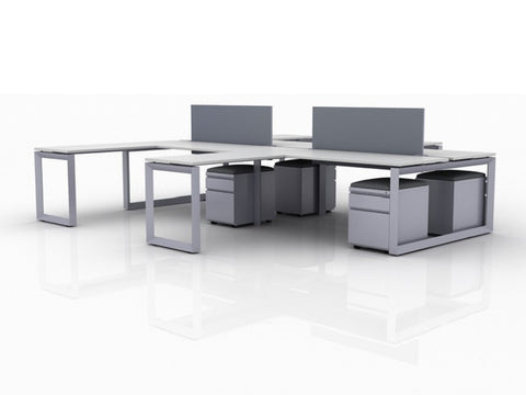 OfficeChairCity.com - 4-Person Workstations With Return