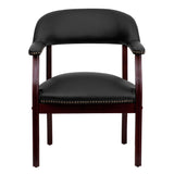 Black Top Grain Leather Conference Chair - OfficeChairCity.com