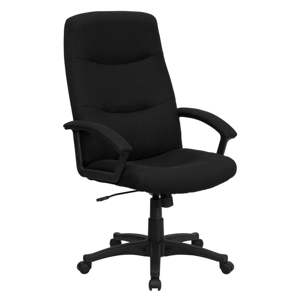 This fabric upholstered office chair features padded arms along with the horizontal line tufting. High back office chairs have backs extending to the upper back for greater support. The high back design relieves tension in the lower back, preventing long term strain. The waterfall front seat edge removes pressure from the lower legs and improves circulation. Chair easily swivels 360 degrees to get the maximum use of your workspace without strain. The pneumatic adjustment lever will allow you to easily adjus