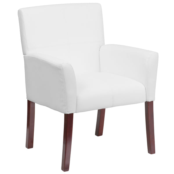 Show off your sense of style with this white upholstered reception chair. The contemporary styling of the chair provides a dramatic statement to your space. The inset stitching and high wood legs will appeal to everyone in every setting.