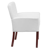 White Leather Executive Side Reception Chair with Mahogany Legs - OfficeChairCity.com
