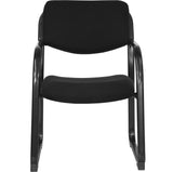 Black Fabric Executive Side Reception Chair with Sled Base - OfficeChairCity.com