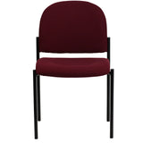 Comfort Burgundy Fabric Stackable Steel Side Reception Chair - OfficeChairCity.com