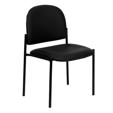 Complete your office or reception area with this stackable side chair. This chair features a thick padded, contoured seat and protective floor glides. This side chair will bring a big presence to your lobby area without overcrowding your space.