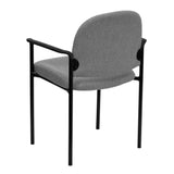 Comfort Gray Fabric Stackable Steel Side Reception Chair with Arms - OfficeChairCity.com