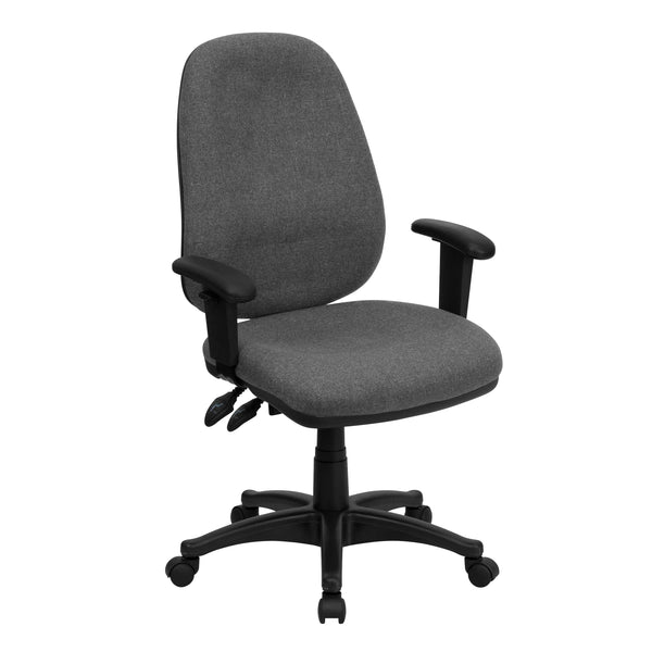 This office chair will give you an edge on comfort with its contoured cushions and adjusting capabilities. High back office chairs have backs extending to the upper back for greater support. The high back design relieves tension in the lower back, preventing long term strain. The locking synchro tilt control allows the chair's back and seat to recline at different rates, increasing the angle between your torso and thighs. The waterfall front seat edge removes pressure from the lower legs and improves circul