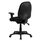 Mid-Back Multifunction Black Fabric Executive Swivel Chair with Adjustable Arms - OfficeChairCity.com