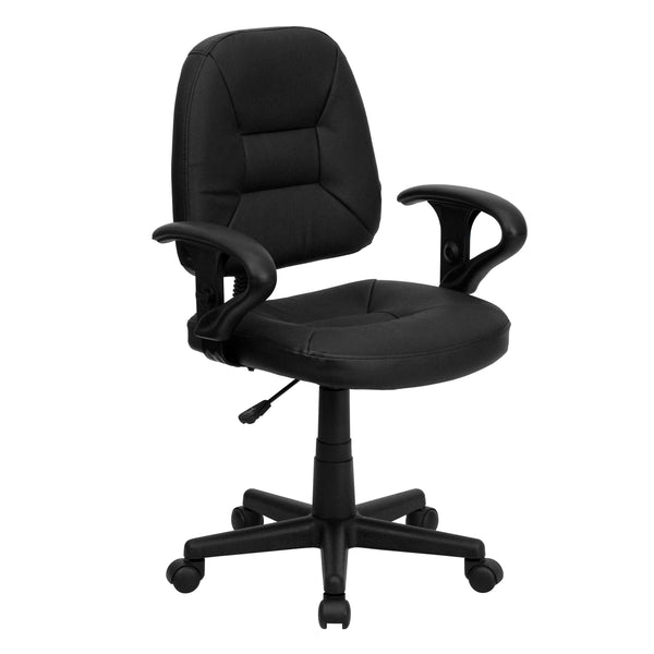 This office chair was designed to provide comfort and support. Practical and adaptable for most office settings, mid-back office chairs are the logical choice for performing an array of tasks. A mid-back office chair offers support to the mid-to-upper back region. This chair is ideal for anyone who does a great deal of typing throughout the day and needs good back support. Chair easily swivels 360 degrees to get the maximum use of your workspace without strain. The pneumatic adjustment lever will allow you
