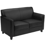 Office Chair City - Black Leather Loveseat Office, Reception Furniture, Lobby Furniture