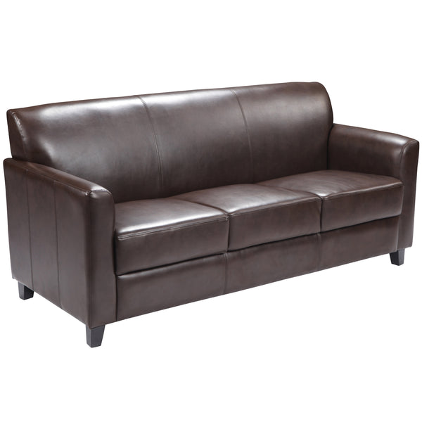 Office Chair City - brown leather sofa, reception furniture, lobby furniture, waiting room furniture