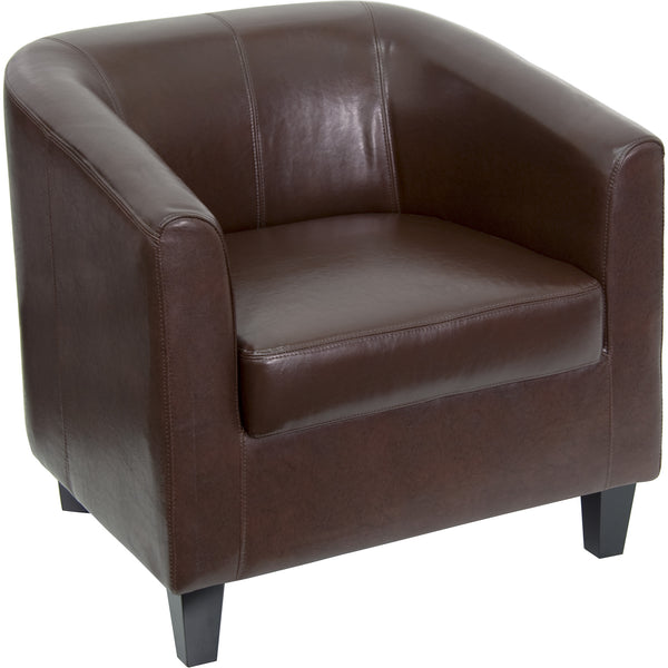 Reception chairs are perfect for the office and as waiting room seating. This chair was designed to fit seamlessly in a multitude of environments. This chair features streamlined stitching and elevated feet. Not only will this chair fit in a professional environment, but can be used in the home.