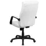 High Back White Leather Executive Swivel Chair with Memory Foam Padding with Arms - OfficeChairCity.com