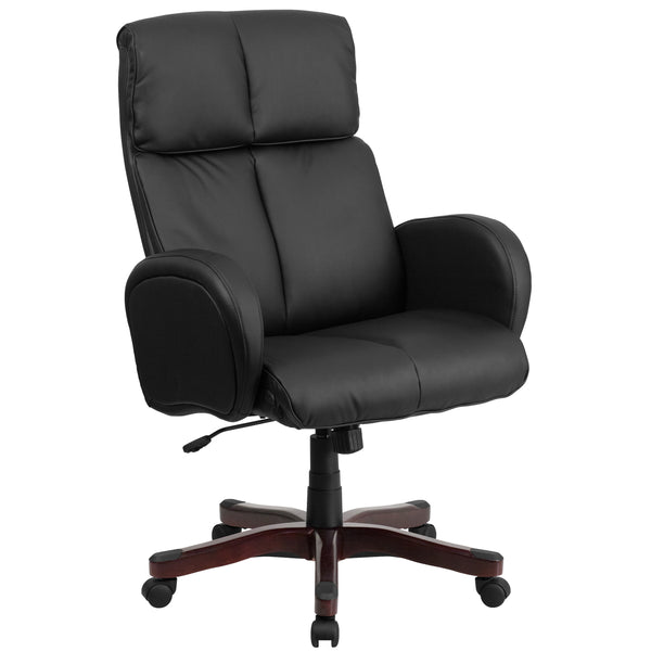 This contemporary office chair features fully upholstered arms and built-in lumbar support. Finding a comfortable chair is essential when sitting for long periods at a time. Having the support of an ergonomic office chair may help promote good posture and reduce future back problems or pain. High back office chairs have backs extending to the upper back for greater support. The high back design relieves tension in the lower back, preventing long term strain. The waterfall front seat edge removes pressure fr