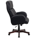 High Back Black Leather Executive Swivel Chair with Fully Upholstered Arms - OfficeChairCity.com