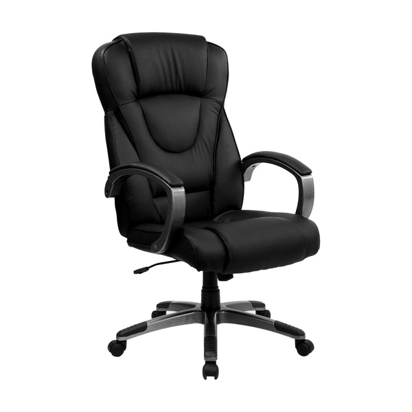 This plush leather chair has a very appealing look to show off your modern taste in computer seating. Chair features generous padding on the seat, back and arms to provide comfort throughout the day. Finding a comfortable chair is essential when sitting for long periods at a time. Having the support of an ergonomic office chair may help promote good posture and reduce future back problems or pain. High back office chairs have backs extending to the upper back for greater support. The high back design reliev