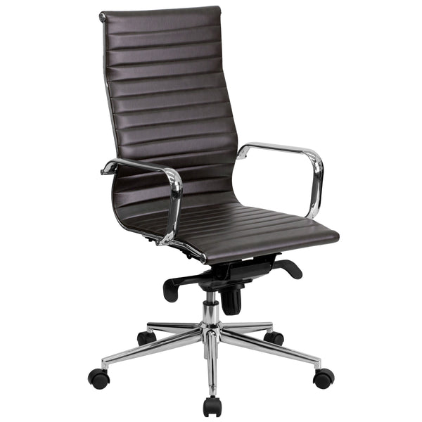 This elegant conference chair will give your home, office or conference room an upscale, minimalist look.It's upholstered in leather and has polished aluminum arms and frame with an integrated coat hanger bar. The high back chair features a ribbed and foam molded, swivel seat and back, and built-in lumbar support. The seat and back are padded with CA117 fire retardant foam. A dual paddle control mechanism under the seat gives you the adjustment options you need for a custom fit. Turn the tilt tension adjust