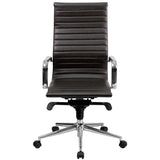 High Back Brown Ribbed Leather Executive Swivel Chair with Knee-Tilt Control and Arms - OfficeChairCity.com