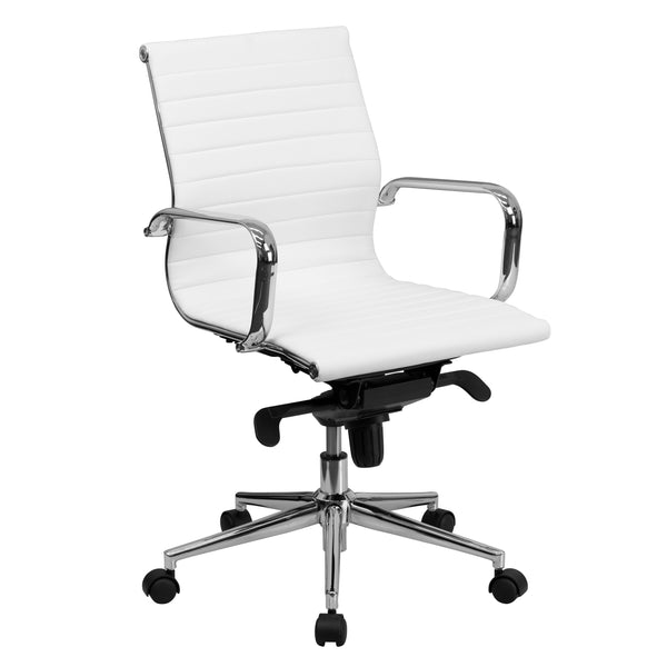 This elegant conference chair will give your home, office or conference room an upscale, minimalist look.It's upholstered in leather and has polished aluminum arms and frame with an integrated coat hanger bar. The mid-back chair features a ribbed and foam molded, swivel seat and back, and built-in lumbar support. The seat and back are padded with CA117 fire retardant foam. A dual paddle control mechanism under the seat gives you the adjustment options you need for a custom fit. Turn the tilt tension adjustm