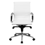 Mid-Back White Ribbed Leather Swivel Conference Chair with Knee-Tilt Control and Arms - OfficeChairCity.com