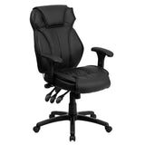 This attractive office chair is loaded with options to maximize your comfort and productivity when you're working long hours to get the job done.Its high-back, integrated headrest and built-in lumbar support help prevent back strain. You can increase lumbar support using the pressurized lumbar support knob. The padded swivel seat is filled with 3 inches of CA117 fire retardant foam and features a waterfall edge, designed to reduce pressure and promote healthy blood flow to your lower legs. Height adjustable