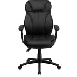 High Back Black Leather Multifunction Executive Swivel Chair with Lumbar Support Knob with Arms - OfficeChairCity.com