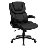 This gorgeous leather upholstered office chair provides a professional appearance to complement your office or home. This chair features an open arm design that is comfortably padded. High back office chairs have backs extending to the upper back for greater support. The high back design relieves tension in the lower back, preventing long term strain. The waterfall front seat edge removes pressure from the lower legs and improves circulation. Chair easily swivels 360 degrees to get the maximum use of your w