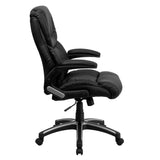 High Back Black Leather Executive Swivel Chair with Arms - OfficeChairCity.com