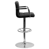 Contemporary Black Quilted Vinyl Adjustable Height Barstool with Arms and Chrome Base - OfficeChairCity.com