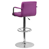 Contemporary Purple Quilted Vinyl Adjustable Height Barstool with Arms and Chrome Base - OfficeChairCity.com