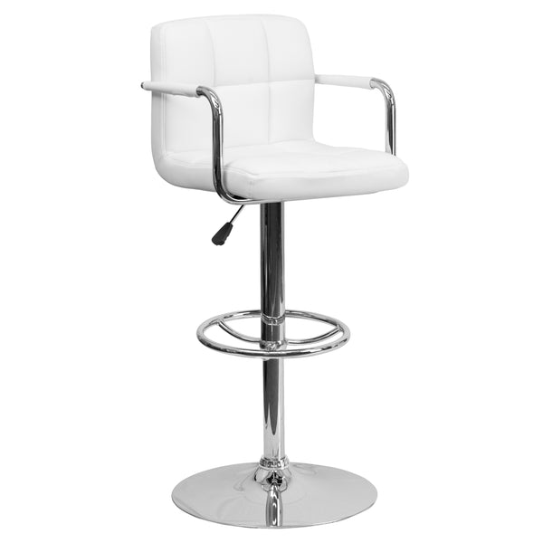 This sleek dual purpose stool easily adjusts from counter to bar height. The simple design allows it to seamlessly accent any area in the home. Not only is this stool stylish, but very comfortable providing you with an amazing sitting experience! The easy to clean vinyl upholstery is an added bonus when stool is used regularly. The height adjustable swivel seat adjusts from counter to bar height with the handle located below the seat. The chrome footrest supports your feet while also providing a contemporar