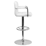 Contemporary White Quilted Vinyl Adjustable Height Barstool with Arms and Chrome Base - OfficeChairCity.com